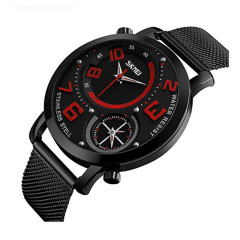Dual Time Zone Stainless Steel Quartz Watch