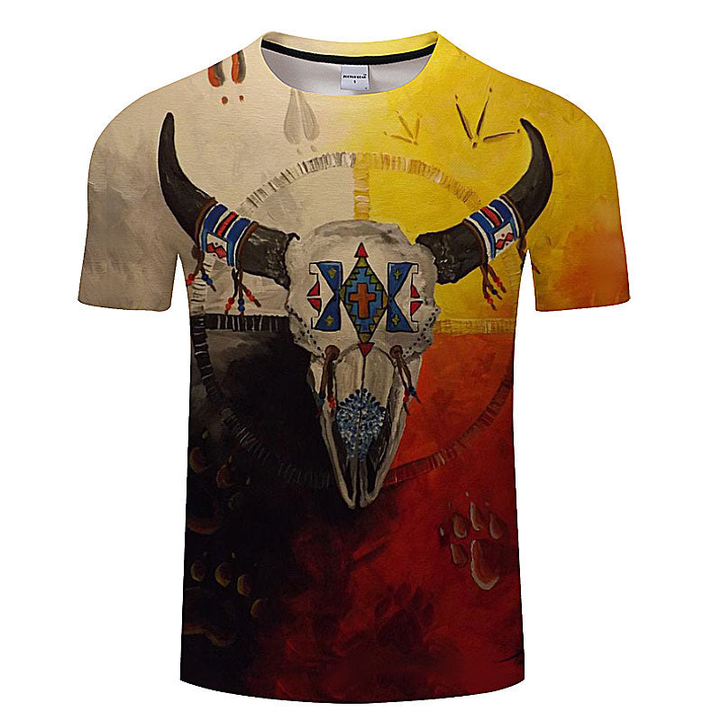3D Cow Skull Short-Sleeve T-Shirt