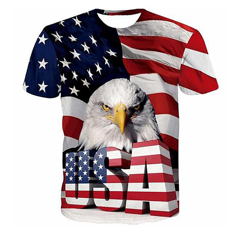 3D  Print Striped American Flag Eagle T-Shirt