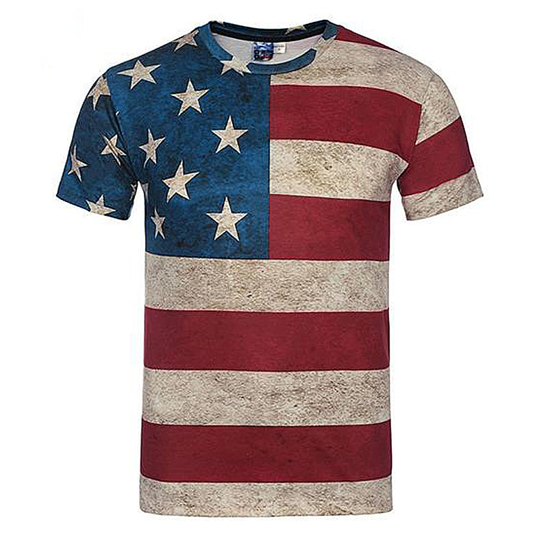 American Flag Print Striped  T-Shirt