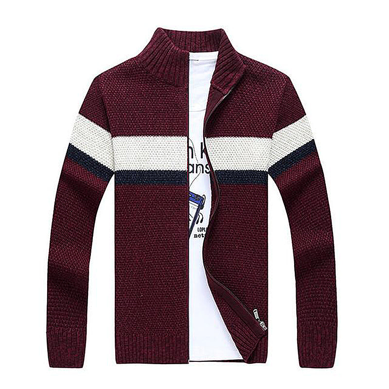 Stitching Turn-Down Collar Cotton Sweater