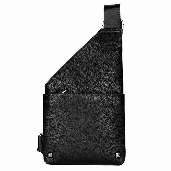Rivet Black Leather Messenger Bag