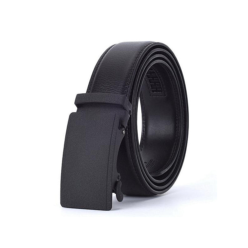 Black Alloy Buckle Leath Belt