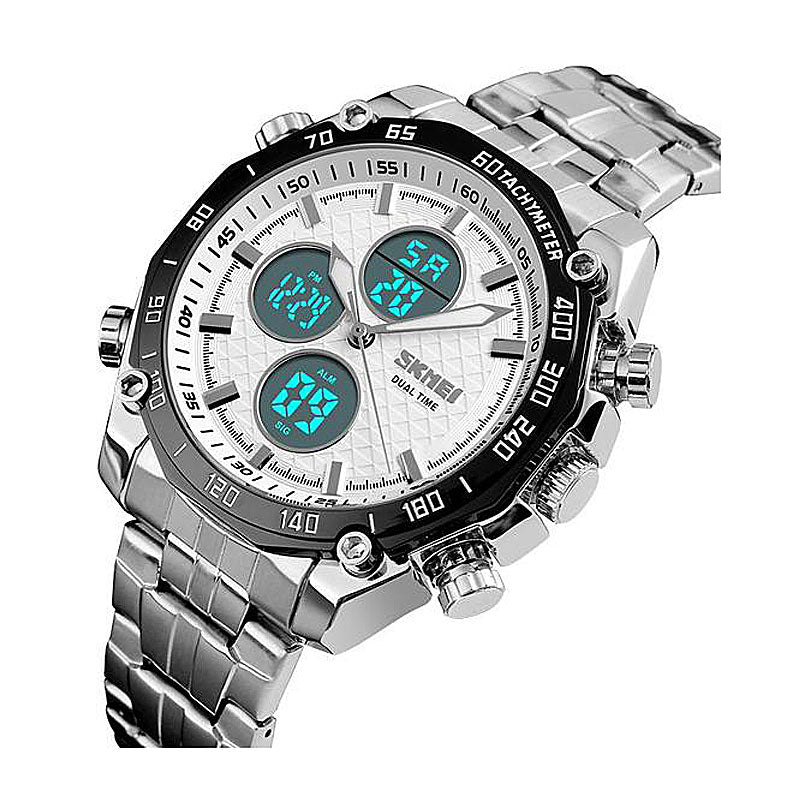 Stainless Quartz LED Analog Digital Watch
