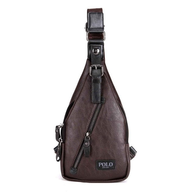 Magnetic Button Leather Messenger Bag