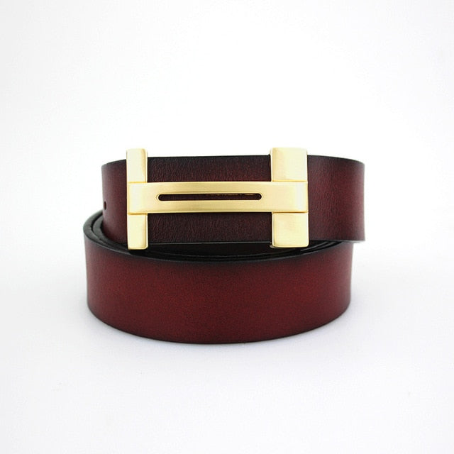 H Design Genuine Leather Business Belts