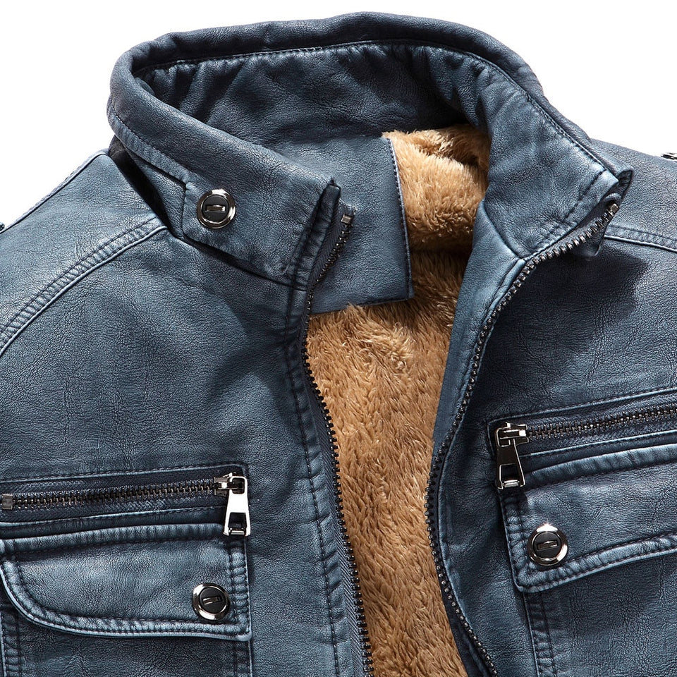 Faux Fur Lined PU Leather Jacket