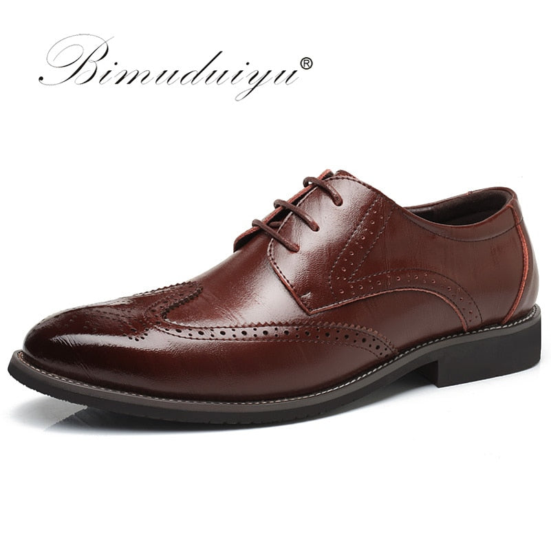 Lace-Up Leather Brogue Shoes