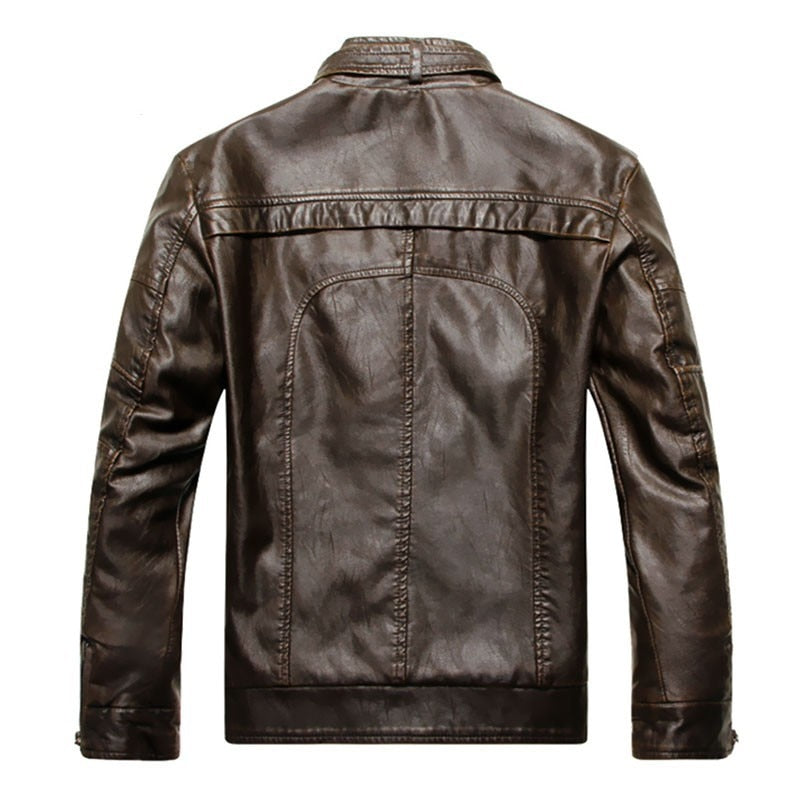 Faux Leather Short Stand Collar Jacket
