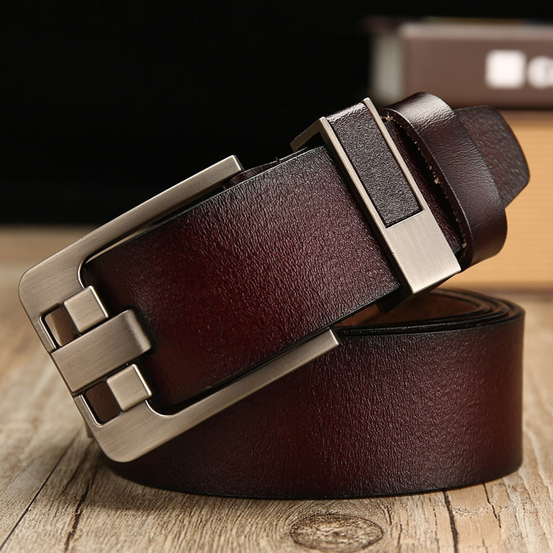 Genuine Leather Pin Buckle Belts
