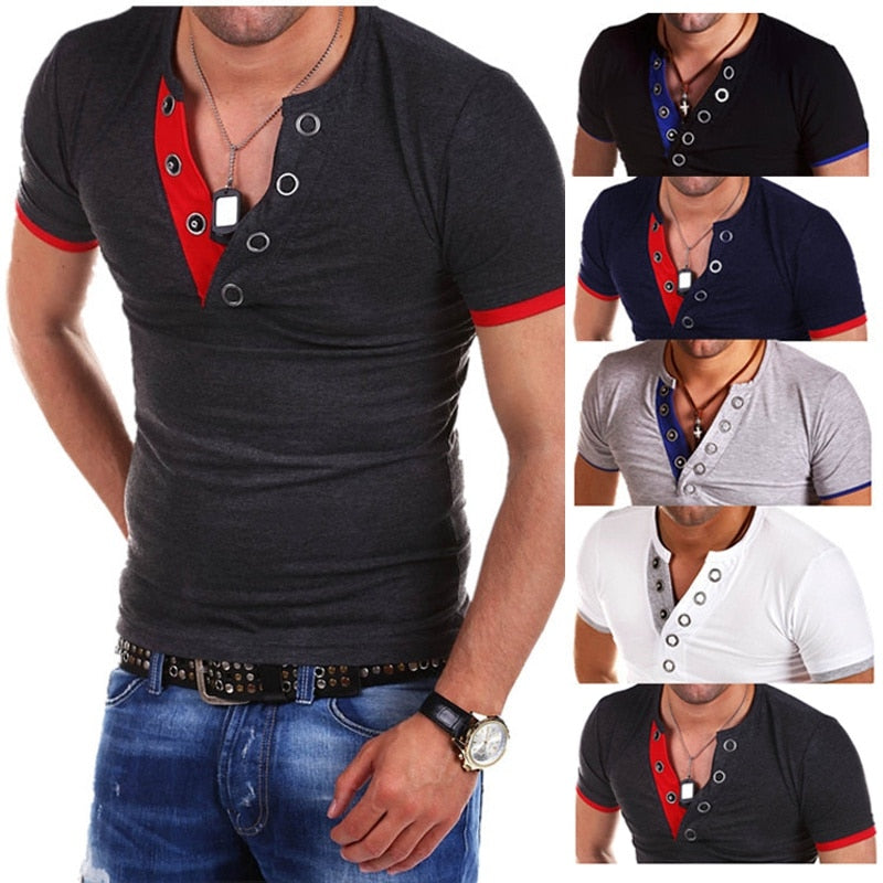 V Neck Cotton Sports T-Shirt