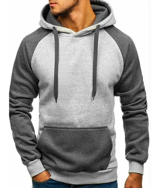 Solid Color Stitching Hoodie