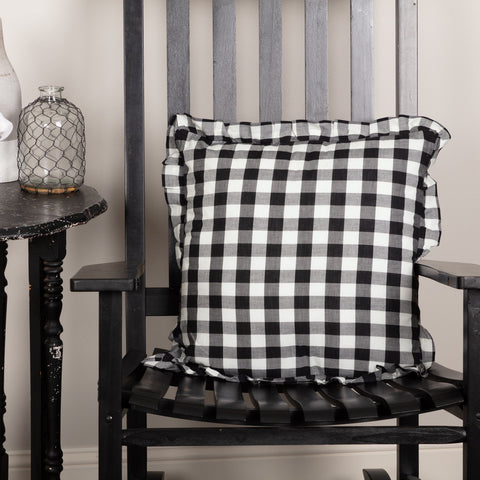ANNIE BUFFALO CHECK RUFFLED FABRIC PILLOW-BLACK OR GREY 18X18