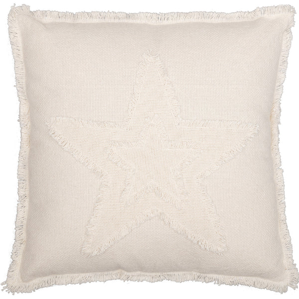 BURLAP ANTIQUE WHITE STAR PILLOW 18X18