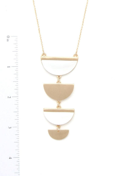 Two Tone Half Circle Pendant Necklace