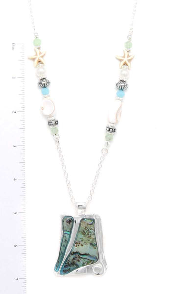 Abalone Organic Shape Pendant Beaded Necklace