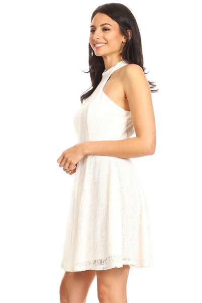 Lace Sleeveless Dress With Halter Neckline And Back Zipper Closure