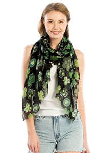 Fashion Chiffon Clover Print Scarf-7ft. Long