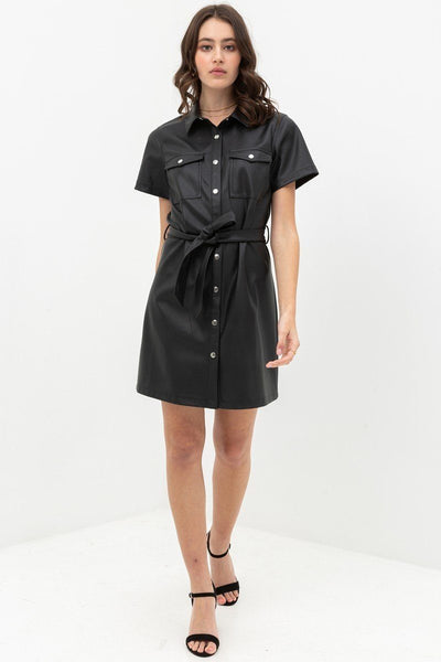 Dress With Over Shirt Silhouette Made From Pleather