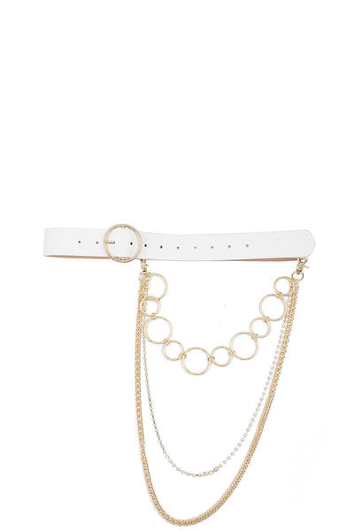Fashion Round Buckle Belt With Triple Layer Chain Accent