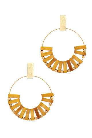 Stylish Wooden Bead Hoop Earring