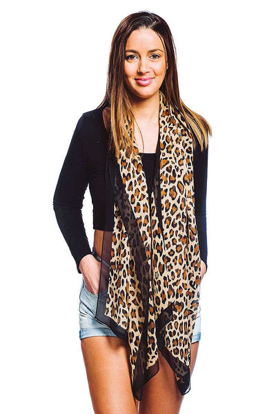 Fashion Silky Leopard Print Oblong Scarf