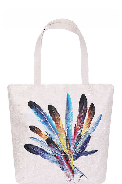 Chic Multi Color Feather Print Ecco Tote Bag