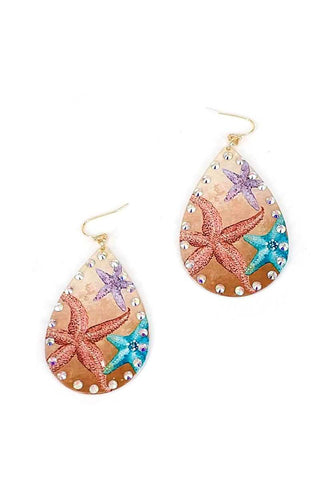 Chic Stylish Star Fish Print Tear Drop Earring