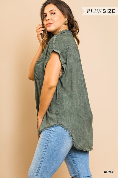 Washed Button Up Short Sleeve Top With Frayed Hemline