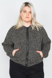 Plus Size Heather Charcoal Athletic Full Zip Hoodie Sweater