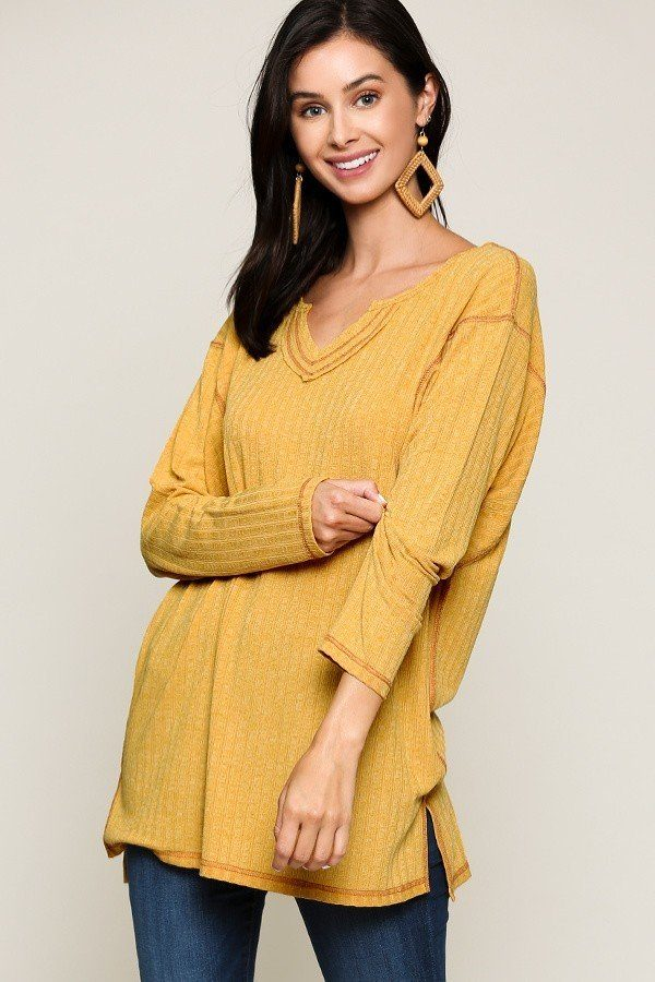 Two-tone Rib Tunic Top With Side Slits