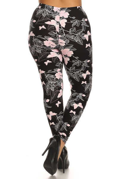 Plus Size Super Soft Peach Skin Fabric, Butterfly Graphic Printed Knit Legging