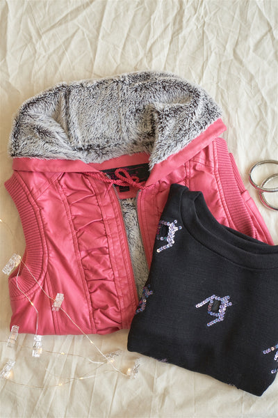 Pink Vegan Leather Shirred Faux Fur Lining Draw String Tie Hood Detail Vest