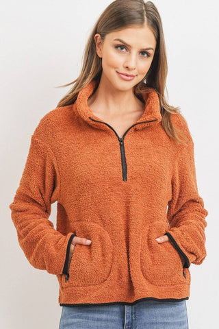 Long Sleeve Half Zipper Pullover Loopie Terry