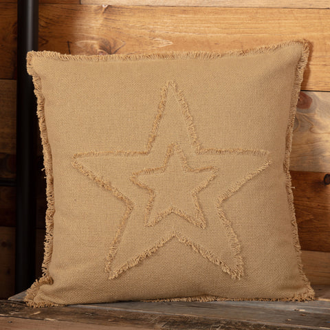 BURLAP NATURAL STAR PILLOW 18X18