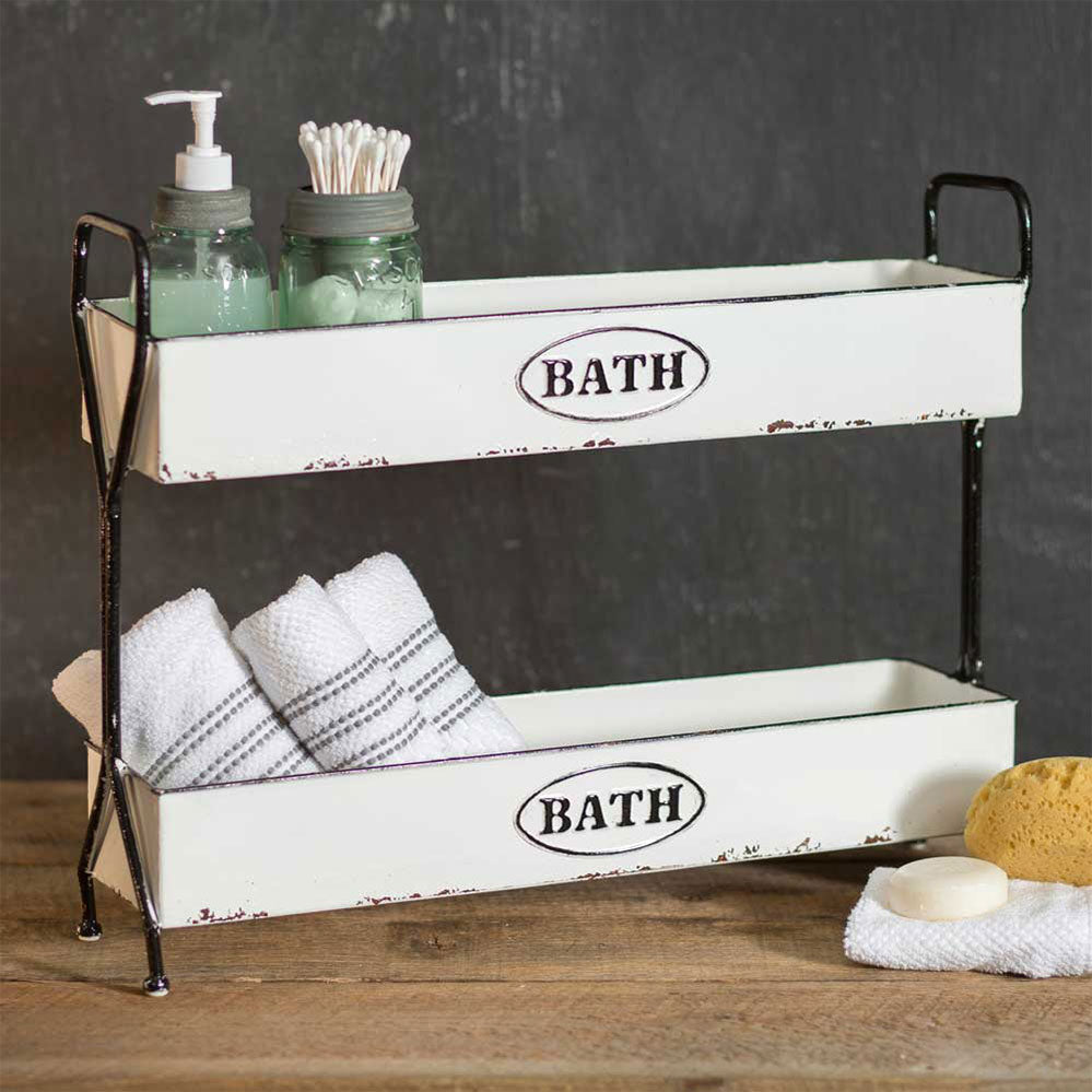 White Two-Tier Metal Bath Caddy