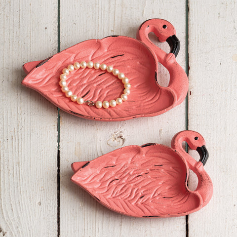 Cast Iron Flamingo Dishes - Set Of Two