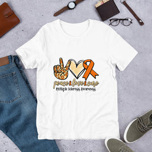 Peace, Love, Cure-Multiple Sclerosis Awareness Short-Sleeve Unisex T-Shirt
