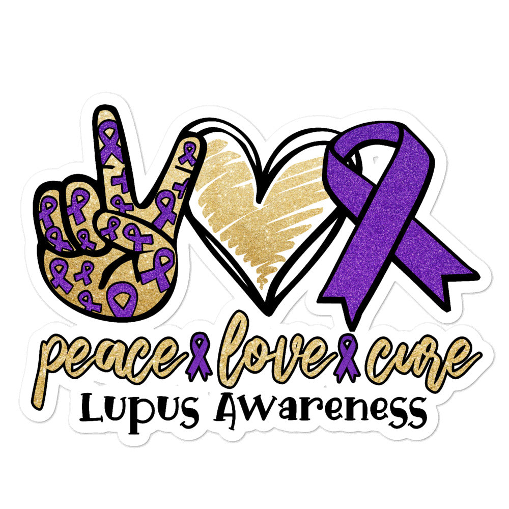 Peace Love Cure Lupus Awareness Bubble-free stickers