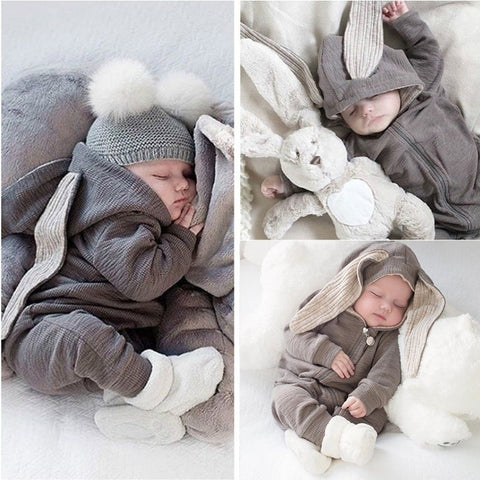 Sweet Baby Bunny Hooded Romper