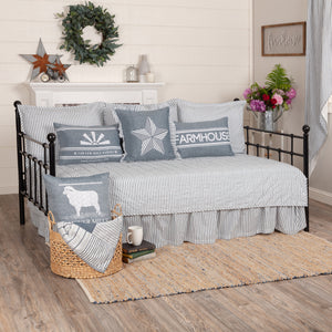 SAWYER MILL BLUE TICKING STRIPE 5PC DAYBED QUILT SET (1 QUILT, 1 BED SKIRT, 3 STANDARD SHAMS)