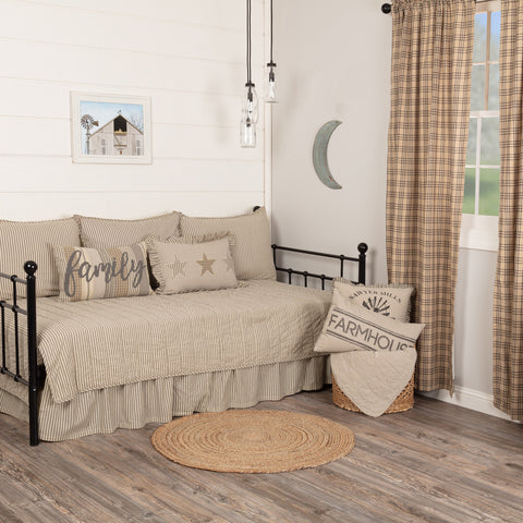 SAWYER MILL CHARCOAL TICKING STRIPE 5PC DAYBED QUILT SET (1 QUILT, 1 BED SKIRT, 3 STANDARD SHAMS)