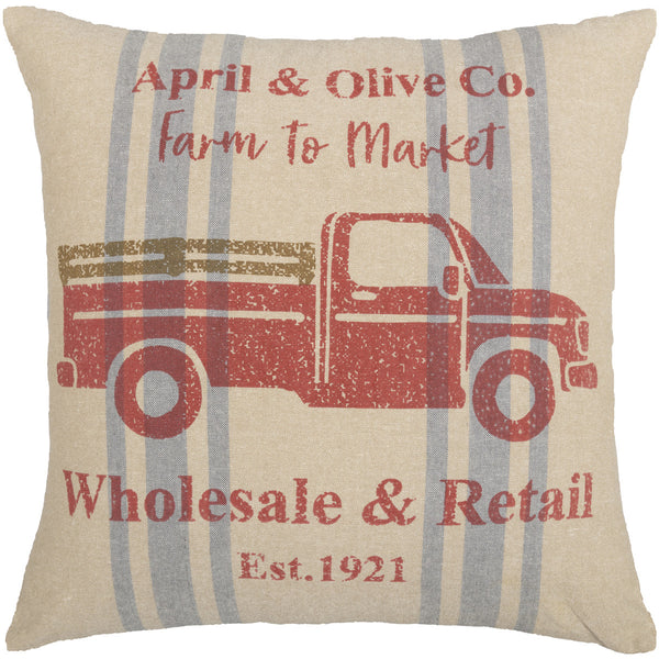 FARMER'S MARKET DELIVERY TRUCK PILLOW 18X18