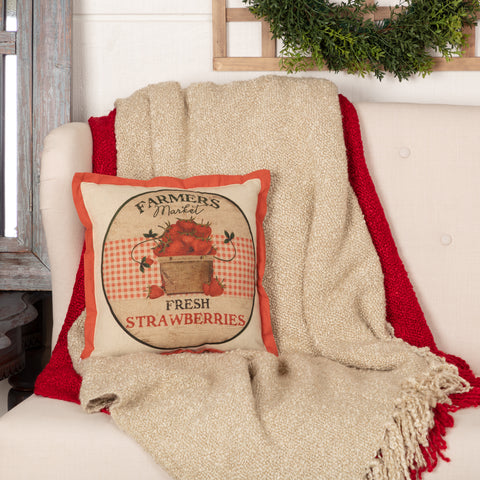 FARMER'S MARKET FRESH STRAWBERRIES PILLOW 12X12