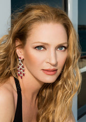 Uma Thurman wearing ORLOV jewelry with rubies- during the Cannes film Festival 2013 shot by Gilles Bensimon