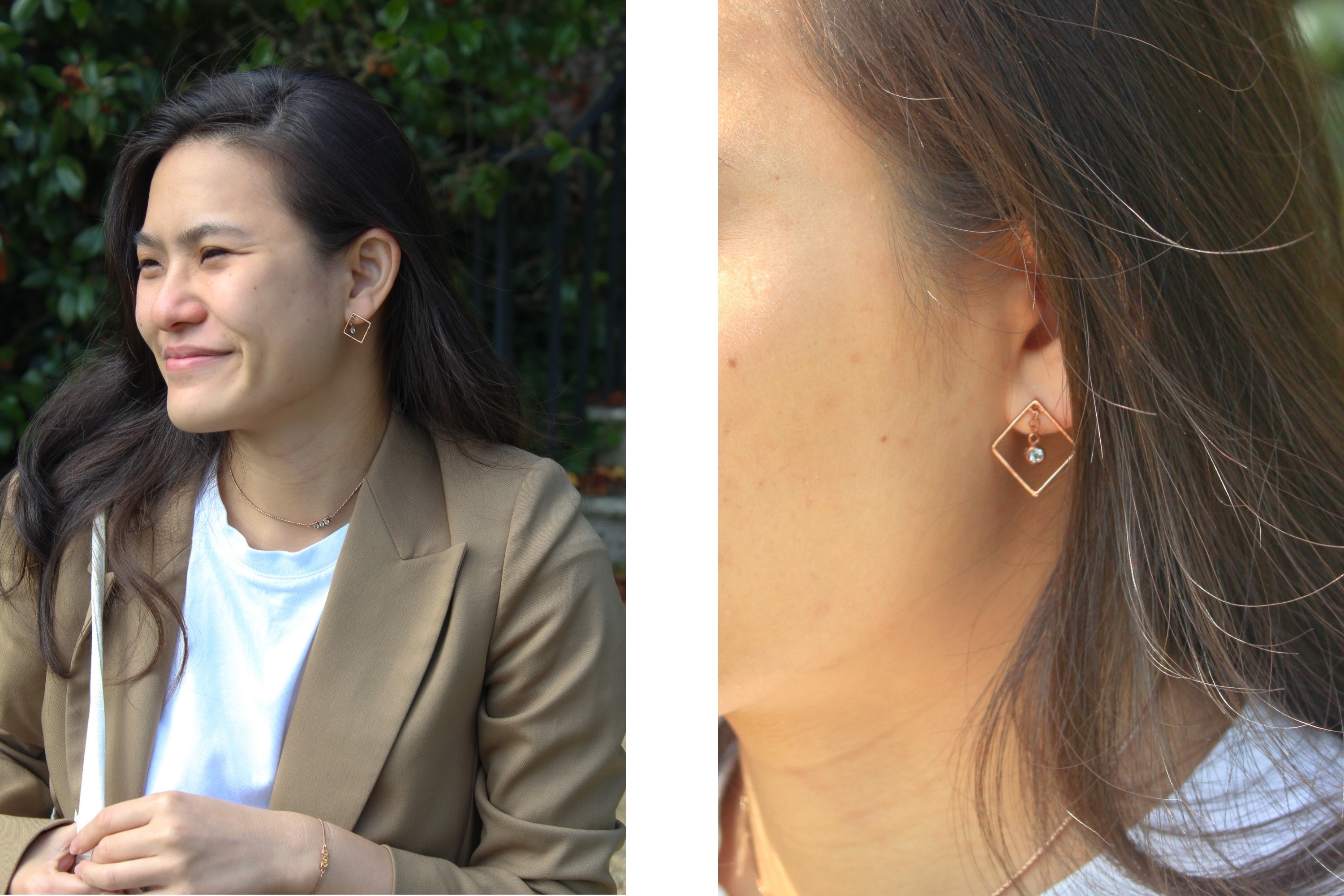 Di Diao Blue Topaz Square Earrings worn with a blazer