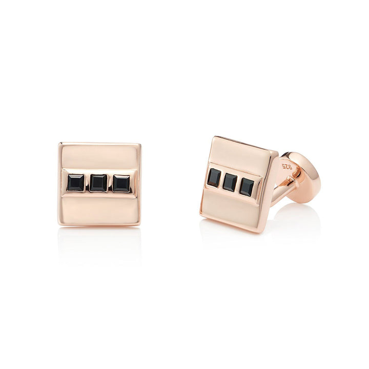 LIMITED EDITION | Black Spinel Cufflinks, 18 ct Rose Gold Vermeil - Tsai x Tsai | Luxury Gemstone Jewellery Gift