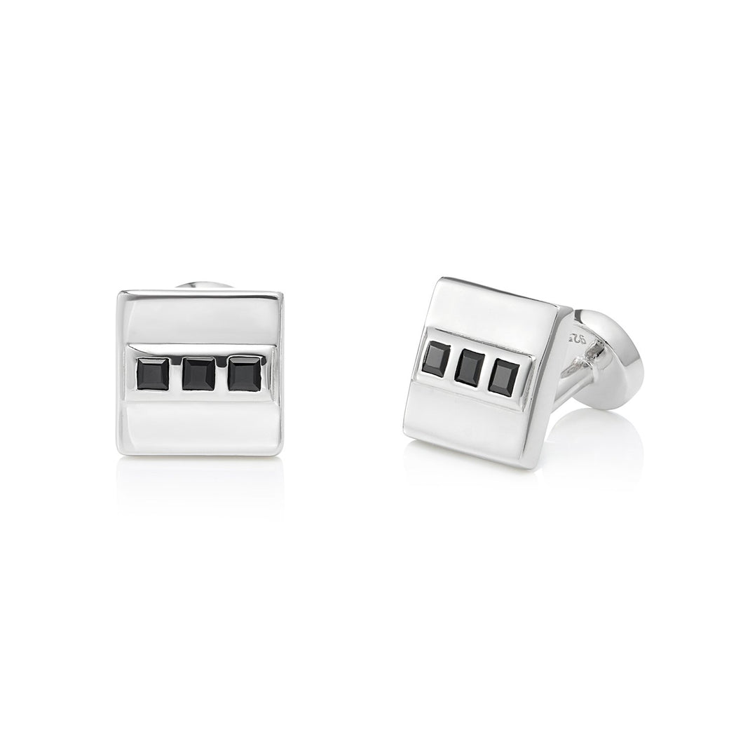 Black Spinel Cufflink, Sterling Silver