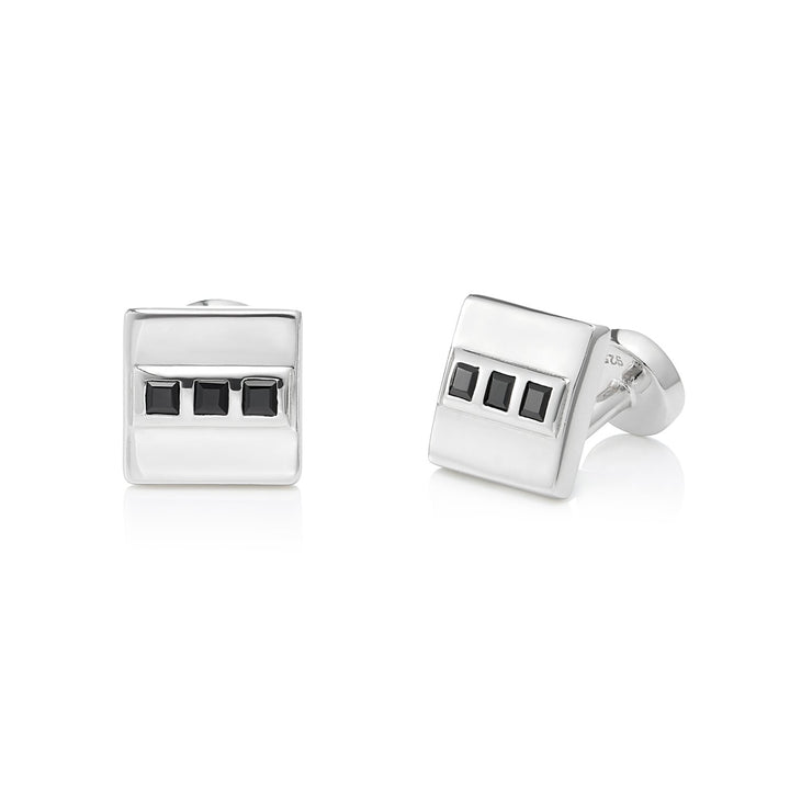 Black Spinel Cufflinks, Sterling Silver - Tsai x Tsai | Luxury Gemstone Jewellery Gift
