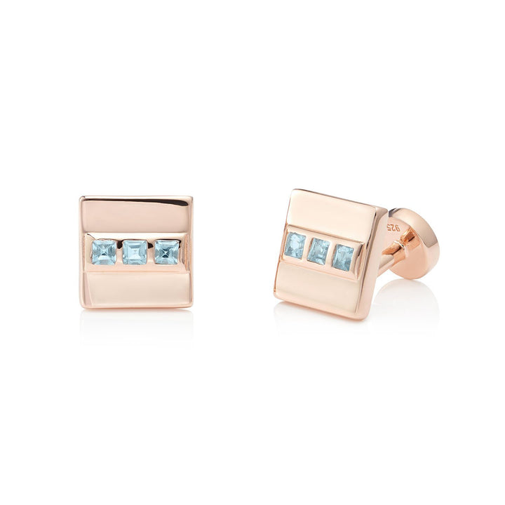 San Shi Blue Topaz Cufflinks, 18 ct Rose Gold Vermeil - Tsai x Tsai | Luxury Gemstone Jewellery Gift